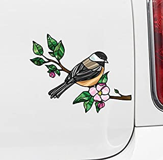Bird - Chickadee with Apple Blossom - Stained Glass Style Opaque Vinyl Car Decal - Copyright 2015 Yadda-Yadda Design Co. (MD 6