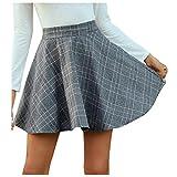 Lenfeshing Moda Falda de La Pata de Gallo para Mujer Plisada Patinador Multifuncional Corto Falda Mini Falda A-línea Elegante Commuter de Cintura Alta Cuadros Falda