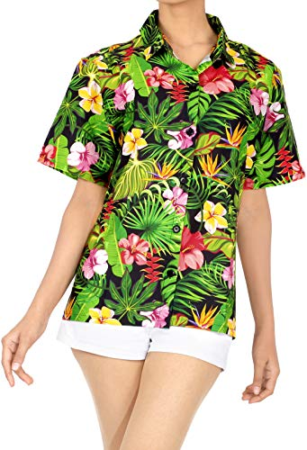 HAPPY BAY Camicia Hawaiana per Le Donne Pulsante Breve Maniche Giù Ibisco Floreale Stampato Aloha Nero_AA92 M - IT Dimensione : - 48-50