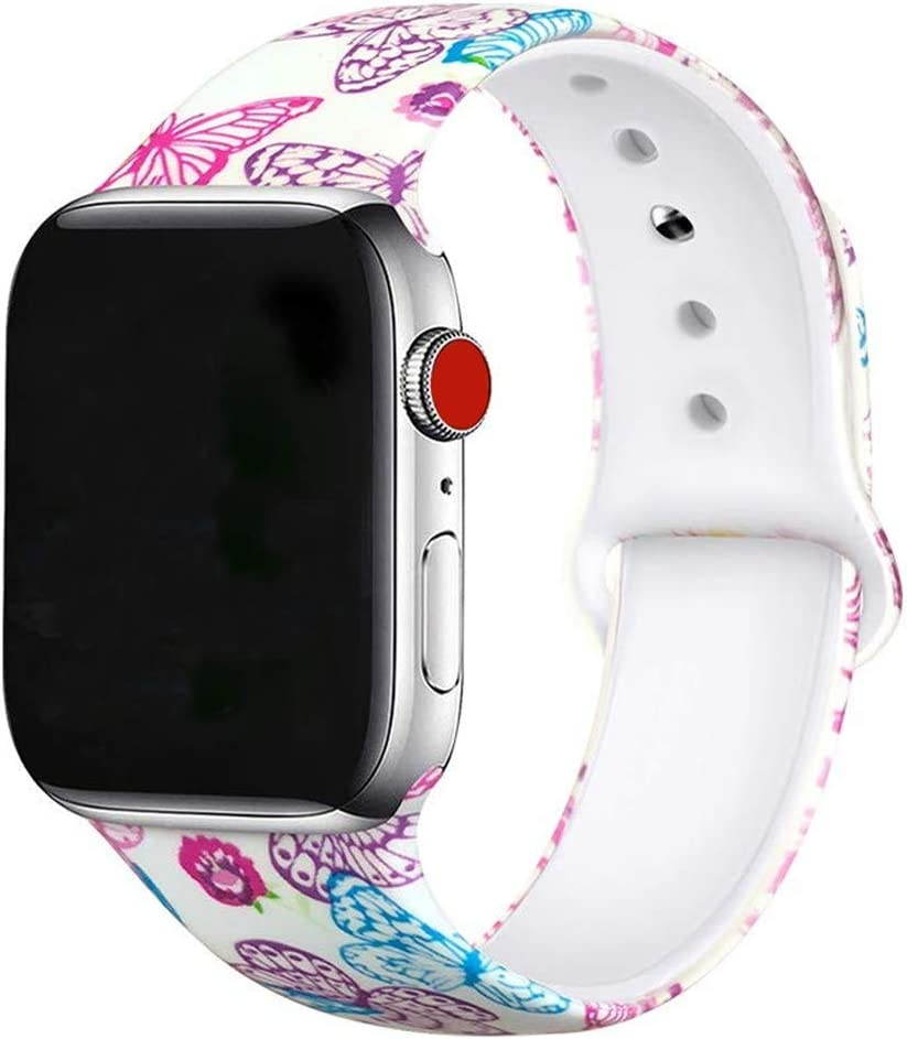 Butterfly Floral Bands Compatible with Apple Watch Series 4/3/2/1,Silicone Sports Straps Printed Pattern Wristband for iWatch 38mm/42mm/40mm/44mm S/M M/L for Women/Men