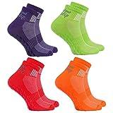 Rainbow Socks - Donna Uomo Sportive Calze Antiscivolo ABS di Cotone - 4 Paia - Naranja Rojo Verde Porpora - Tamaño 39-41