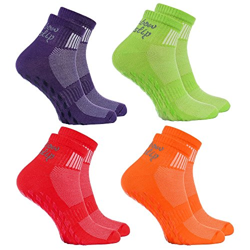 Rainbow Socks - Women Men Cotton Non Slip Grip ABS Sport Socks - 4 Pairs - Orange Red Green Violet - Size 4-6