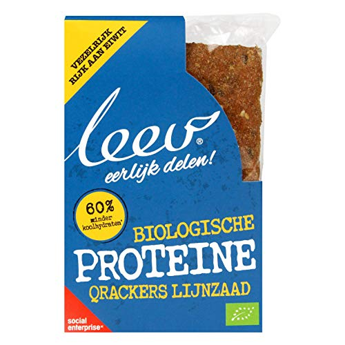Leev 3415 Bio Protein Crackers - Fiber Protein & Flaxseed 100g (3x2pcs) - Multiset of 8 boxes