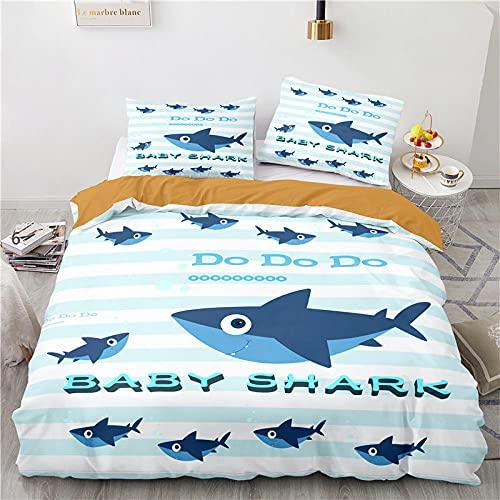 Duvet Set 220X240 Cm With Zipper + 2 Pillowcase Covers 50 X 75 Cm Shark Baby Cartoon Double Bed Duvet Cover Polyester Fabric Duvet Cover
