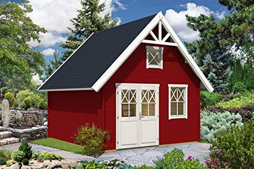 Alpholz Gartenhaus Schwedenhaus 44 mit Anbau aus Massiv-Holz | Gerätehaus mit 44 mm Wandstärke | Garten Holzhaus inklusive Montagematerial | Geräteschuppen Größe: 418 x 418 cm | Satteldach