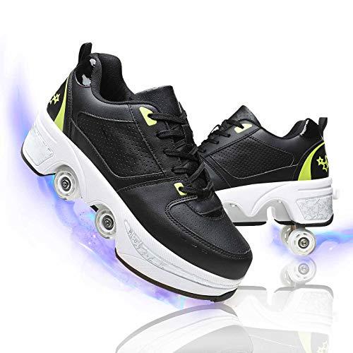 Patines De Ruedas para Adultos Y Niños Doble Fila Invisible Ajustables Doble Propósito Zapatos Deportivos Diseño De Deformación,Black+Green,36