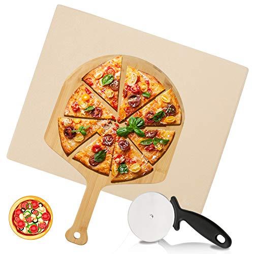 VINGO Pizzastein Ofen Schamottstein aus Cordierit mit Bambus Pizzaschaufel Pizzaschneider, für Backofen Gitterrost & Weber Grill, Backstein Schamott für Pizza, Backstein 30 x 38 x 1,5 cm, beige