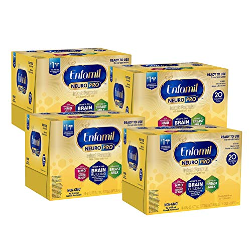 Enfamil NeuroPro Ready to Use Baby Formula, Ready to Feed, Brain and Immune Support with DHA, Iron and Prebiotics, Non-GMO, 6 Fl Oz Nursette Bottles (6 Count) (Pack of 4), Total 24 Bottles