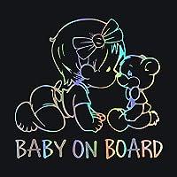 BABY ONBOARD警告車のステッカーデカール車のスタイリング装飾ドア本体壁ガラス窓ビニールステッカー、15cm * 14cm (レーザ)