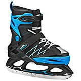 Monarch Boys Adjustable Ice Skate Black/Blue Medium (2-6)