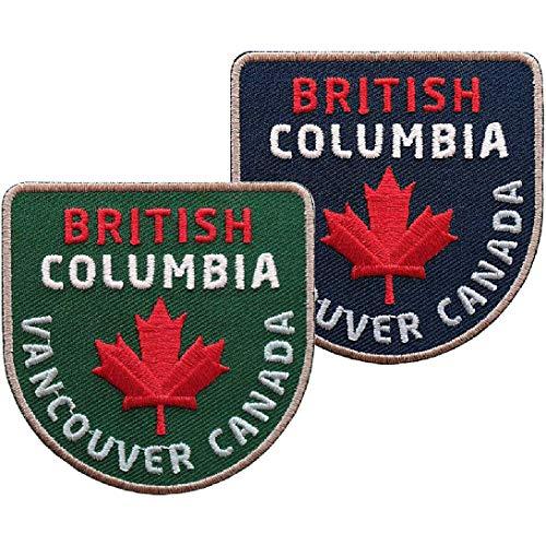 2er-Set Patches Canada British Columbia gestickt 60 mm / Vancouver Kanada Nationalpark Ahorn Flagge Flagg / Aufnäher Aufbügler Sticker Flicken Bügelbild Patch / aufnähen aufbügeln Jacke Winterjacke