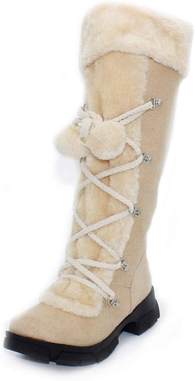 Hoxekle Fashion Sexy Ladies's Platform Boots Women Knee High Boots Winter Women shoes Fur Warm Snow Boots