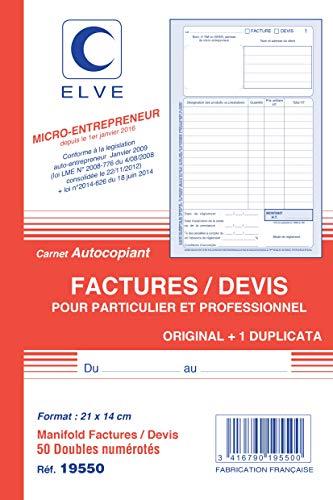 ELVE LV19550 Lot de 5 Carnets Autocopiants Factures/Devis pour Auto-entrepreneurs en Format A5 avec 50 Duplicata