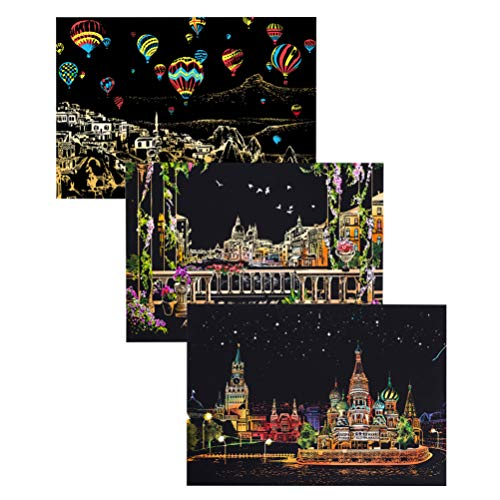 EXCEART Scratch Art Paper Painting Night View Rainbow para Niños Adultos Raspado DIY Craft Regalo de Cumpleaños (Cuadrado Rojo Ruso/Venecia Water City/Globo de Aire Caliente)
