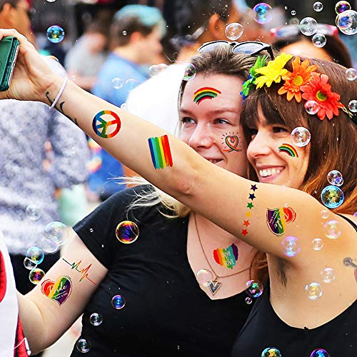UniBetter Gay Pride Rainbow Tatuajes Temporales Body Paint 8 ...