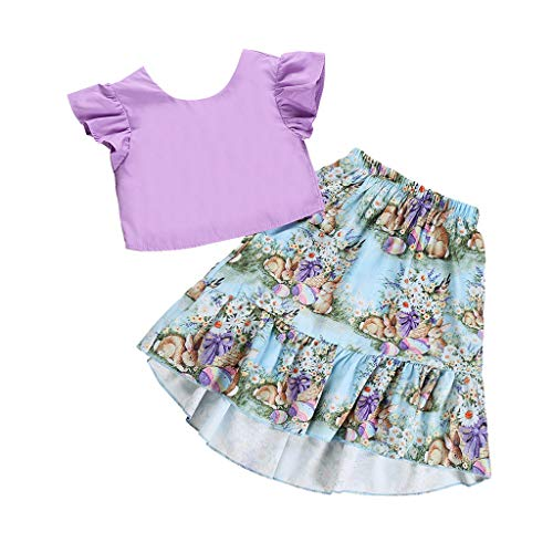 Moneycom 2 PCS Toddler Baby Girls Tops De Tube De Seins Solides + Jupes De Costumes d'impression De Lapin De Bande DessinéE