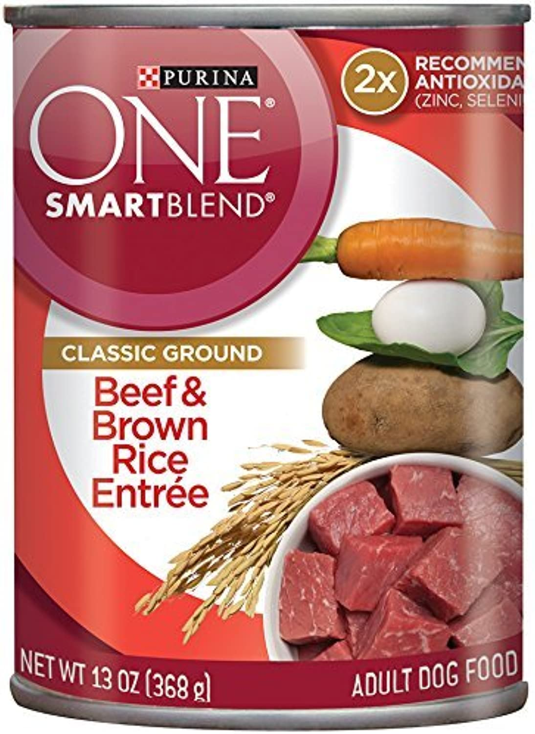 Purina One Smart Blend Classic Ground Canned Dog Food  Beef & Brown Rice Entree 13 oz. (Pack of 2)