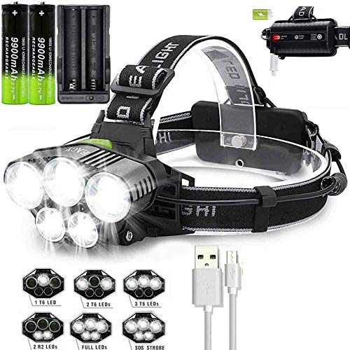 Rechargeable 12000LM T6 LED Headlamp Head Light Torch Lamp Charger + 2x18650 9900mAh Batteries