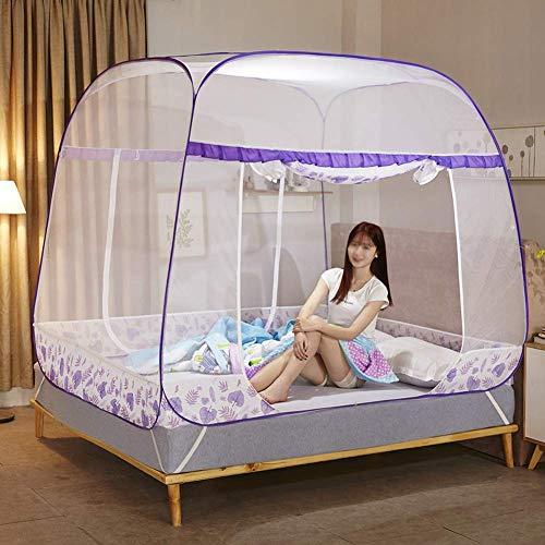 K.W Mosquito Hilo Cama Neta cifrado Espesamiento Libre de la instalación de 360 Grados Anti-Mosquito Cama Doble anticaída Plegable mosquitera Lili (Size : 135 * 200CM (4.5 Feet) Bed)