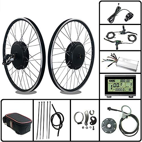 """Schuck 48V1000W Electric Bicycle Conversion Kit 26"""" Front Wheel E-Bike with LCD3 DisplayFor Road Bike/Mountain Bike/Scooter"""