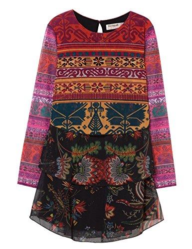 Desigual Mädchen Vest_OROYA Kleid, Rot (Carmin 3000), 152 (Herstellergröße: 11/12)