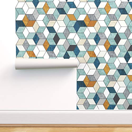 Spoonflower Peel and Stick Removable Wallpaper, Hexagons, Navy Blue, Mint, Mustard, Geometric, Baby Boy, Nursery, Blue, Woodgrain, Hexagonal, Print, Self-Adhesive Wallpaper 12in x 24in Test Swatch