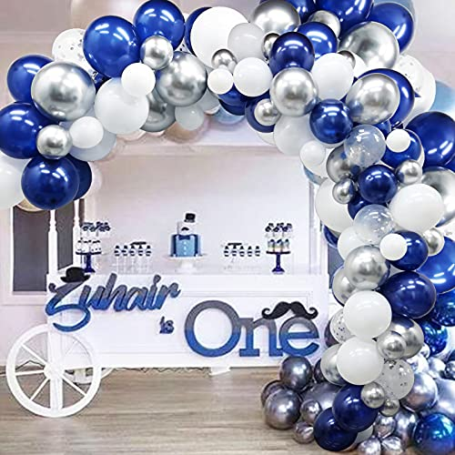 Navy Blue Silver Balloon Arch Garland Kit, 125 Pack Navy Silver White Confetti Balloons with Balloon Accessories for Graduation Party Baby Shower Wedding Birthday Party Centerpiece Backdrop Engagement DIY Decoration Supplies