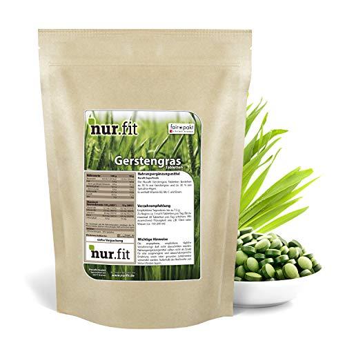 nur.fit by Nurafit Gerstengras Presslinge 250g / 1000 Stück – rein natürliche Tabs aus Gerstengras mit Spirulina ohne Zusatzstoffe – Gerstengrastabletten als Superfood mit Vitaminen und Eisen