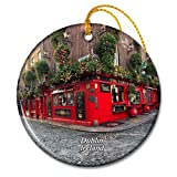 Ireland Temple Bar Dublin Christmas Ornaments. Material: ceramic sheet. Size: 7cm*7cm*0.35cm. Weight: 30g. Design features: double-sided design, the same pattern on both sides. There are other styles of souvenir products in our store. Welcome to shop...