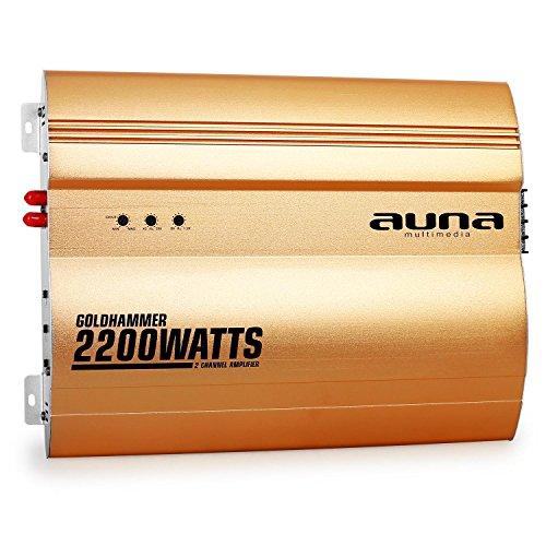 auna Goldhammer Car HiFi Verstärker 2-Kanal Auto-Endstufe Car Amplifier (2200 Watt max, Hoch- & Tiefpassfilter, Gain Regler, Super Bass, brückbar, 2/1-Kanal Betrieb, Status LED) Gold