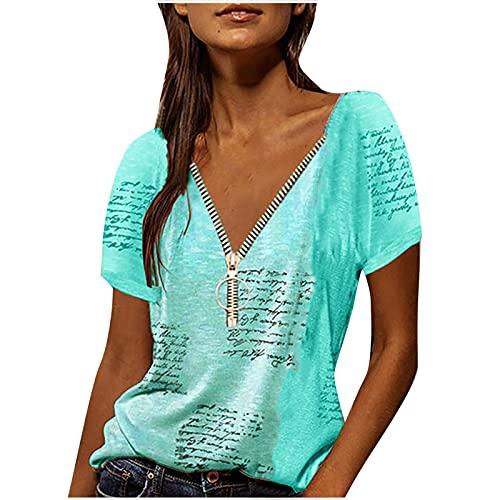 Camiseta de manga corta para mujer, cuello en V, camiseta, blusa para mujer, adolescentes, túnica, cómoda, túnica, letras, gráficos, ropa básica para el día a día. azul celeste S