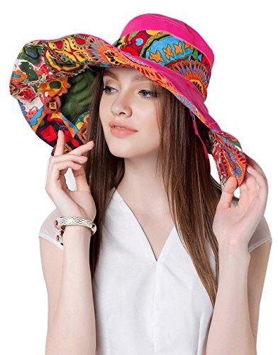 Cappello da sole fashion elegante floreale per donne signore ragazze; ampio orlo protezione solare anti-UV; pieghevole secchio cappello leggero traspirante. Per vacanze, spazi aperti, ciclismo, viaggi, spiaggia, cappello Topee, donna, Rose, L