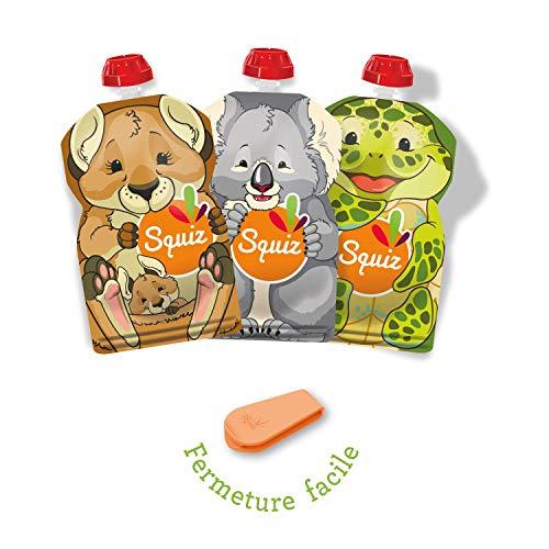 SQUIZ - FABRICATION SUISSE - Lot de 3 Gourdes Rechargeables et Réutilisables 130ml Sans BPA + Squiz'zip - Pour Compotes, Purées et Smoothies - Pour Bébé, Enfant et Adulte - Collection AUSTRALIE