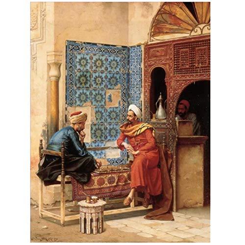 Pinturas de arte árabe de profesores universitarios El juego de ajedrez Ludwig Deutsch oriente medio Pintura al óleo Impresión en lienzo Decoración de la habitación regalo -60x80cm Sin marco
