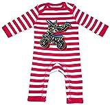 HARIZ Baby Strampler Streifen Stunt Motorrad Bagger Eisenbahn Plus Geschenkkarten Feuerwehr Rot/Washed Weiß 3-6 Monate