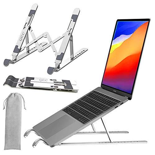 Faltbarer Laptopständer, GQC Verstellbarer Laptop Ständer 7 Stufen der Höhenverstellung Laptophalter für Schreibtisch Aluminium Notebook Riser Tablet Halter für MacBook iPad HP Dell Kindle