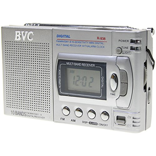 Radio BVC R938 mini radio digital multibanda con reloj y despertador