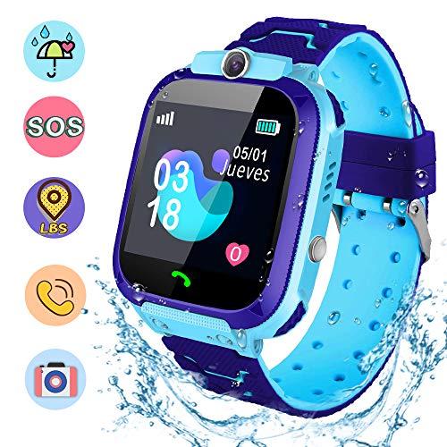 NAIXUES Smartwatch Niños, Reloj Inteligente Niño IP67, LBS, Hacer Llamada, Chat de Voz, SOS, Modo de Clase, Cámara, Juegos, Regalo para Niños de 3-12 años, soporta 2G Tarjetas Micro SIM (Azul)