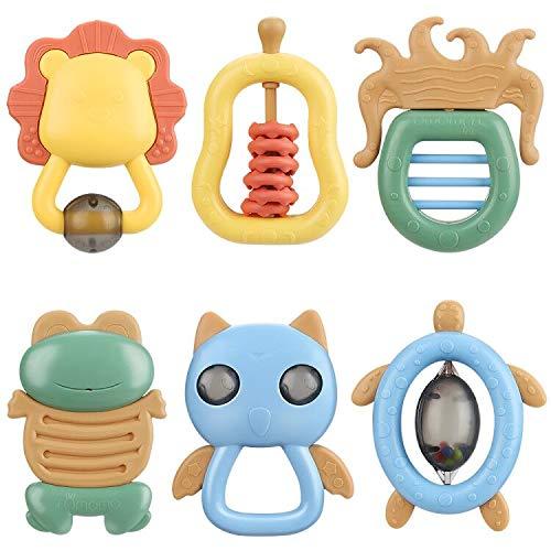 yidenguk baby rattle spielzeug set, 6 pc-baby sensory spielzeug, frühe bildung baby rasseln und beißringe greiflinge neugeborenes spielzeug für 3-monats-above kinder babys mädchen jungs
