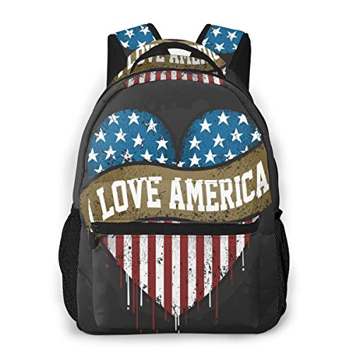 Casual Daypack I Love America Usa Flag 3d All-Over Print Lightweight School Bag For Boy
