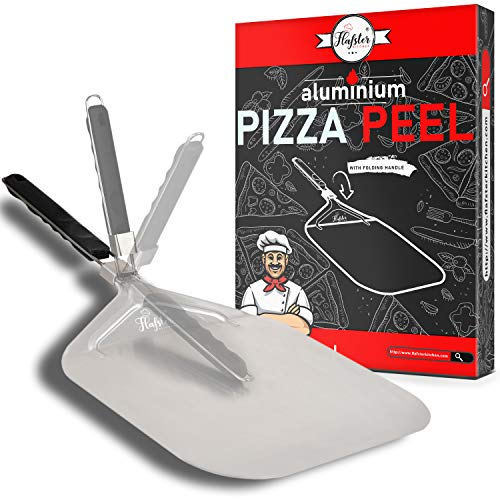 Pizza Peel - Aluminum Pizza Paddle with Folding Handle - Pizza Spatula 12.5' x 14' - The Perfect Accessory for Baking Homemade Pizza - Turning Pizza Peel