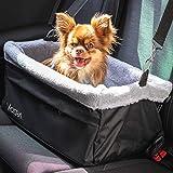 Vicera Hunde Autositz für Beifahrersitz & Rückbank, Stabiler Hundesitz für kleine Hunde & Katzen fürs Auto, Wasserdichter Hundekorb mit Kissen und Sicherheitsgurt