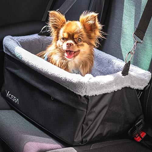 Vicera Hunde Autositz für Beifahrersitz & Rückbank, Hundesitz Auto für kleine und mittlere Hunde & Katzen, Wasserdichter Hundekorb mit Kissen und Sicherheitsgurt