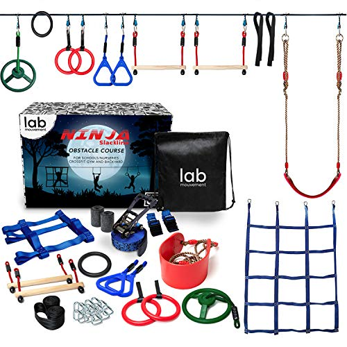 lab mouvement Ninja Warrior Obstacle Course for Kids - Backyard PlaySet - 50 feet Slackline - Gymnastics Indoor and Outdoor Rings - Monkey Bars - Climbing Net - Kids Outdoor Play Sports