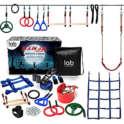 lab mouvement Ninja Warrior Obstacle Course for Kids - Backyard PlaySet - 50 feet Slackline - Gymnastics Indoor and Outdoor Rings - Monkey Bars - Climbing Net - Kids Outdoor Play Sports by lab mouvement