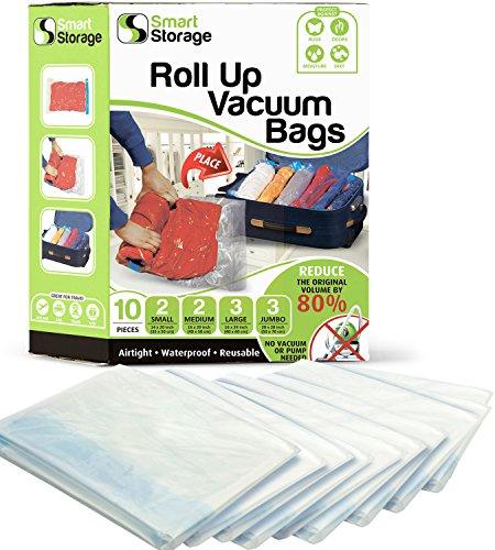 Smart Storage 10 Pzi Rolling Case Bags Variedad Pack Bolsas de vacío y Bolsas de Ahorro de Espacio Bolsas de vacío para Ropa, Ropa y Maleta