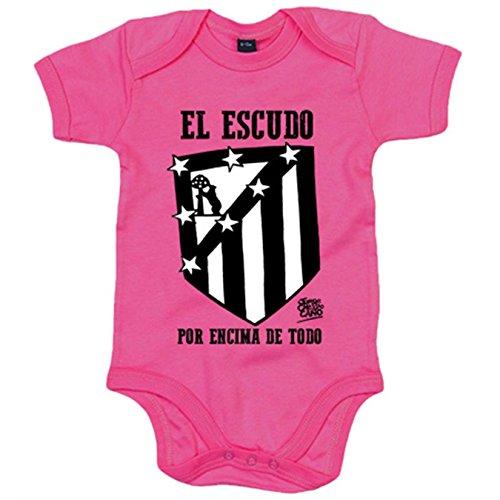 Body bebé Atlético de Madrid el escudo por encima de todo blanco y negro - Celeste, 12-18 meses