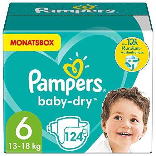 Pampers Windeln Größe 6 (13-18kg) Baby Dry, 124 Stück, MONATSBOX, Bis Zu 12Stunden Rundum-Auslaufschutz