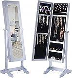 DECOMIL Armario con luz LED con cerradura 47.3 pulgadas de altura montado en la pared/puerta armario organizador de joyería con espejo, 2 cajones, color blanco puro