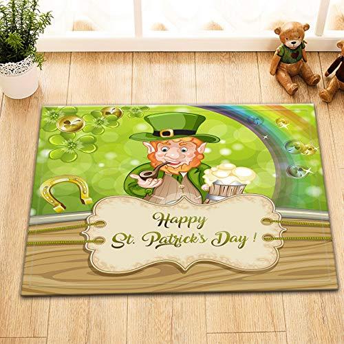 ijiashunf St Patrick Tageskarikatur-rauchender Kobold rutschfeste Bodenmatte aus Samt für Badezimmerdekorationen